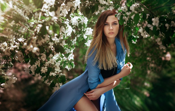 Picture look, the sun, branches, pose, model, portrait, makeup, garden, hairstyle, brown hair, beauty, white, cloak, …