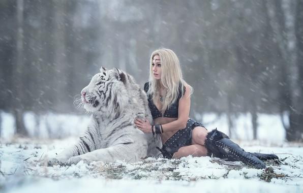 Picture girl, snow, tiger, Irina Pirogova, Daria Lefler