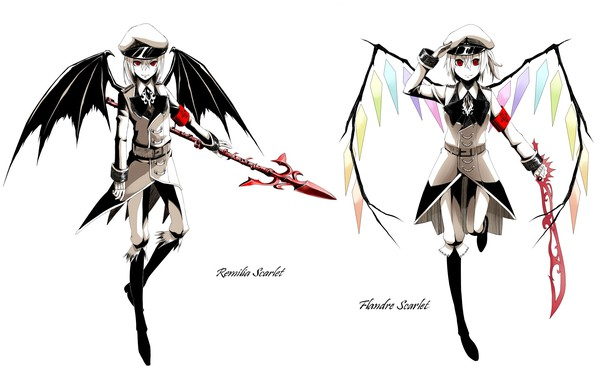 Picture boots, red eyes, cap, military uniform, peak, cleaver, Remilia Scarlet, Flandre Scarlet, project East, vampire, …