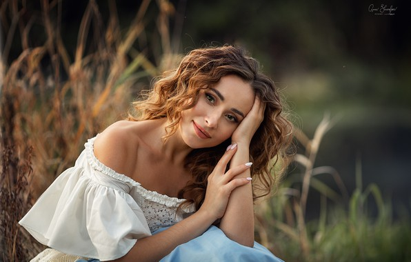 Picture grass, look, girl, nature, pose, blouse, brown hair, curls, shoulder, Anna Shuvalova