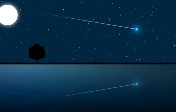 Picture Moon, love, sky, sea, landscape, night, art, stars, tree, romantic, mood, couple, moonlight, reflection, digital …