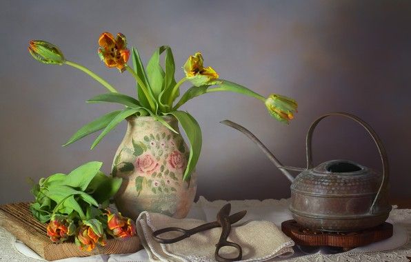 Picture bouquet, kettle, tulips, vase, still life, scissors