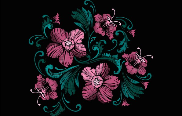 Picture flowers, texture, black background