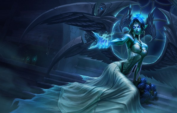 Picture light, girl, fantasy, game, magic, wings, flowers, angel, League of Legends, digital art, roses, artwork, …
