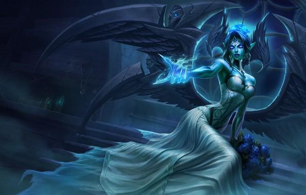 Picture light, girl, fantasy, game, magic, wings, flowers, angel, League of Legends, digital art, roses, artwork, …