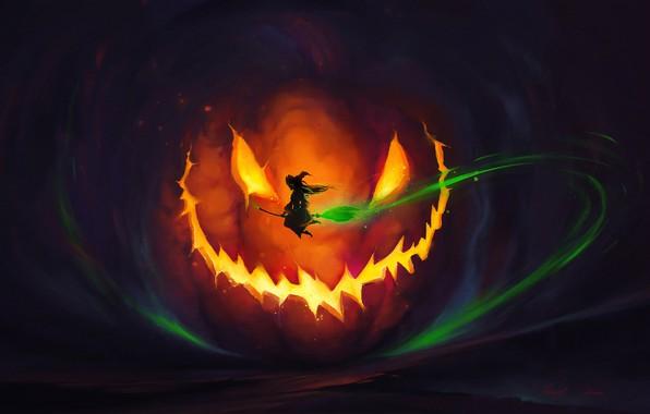 Picture lights, dark, Halloween, horror, fantasy, magic, flying, night, dusk, artist, holiday, digital art, artwork, pumpkin, …