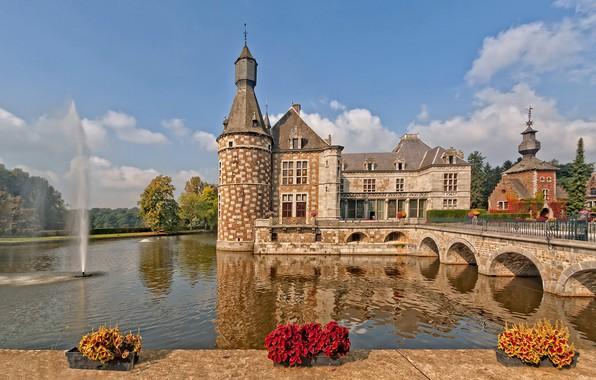 Picture water, flowers, bridge, castle, fountain, Belgium, Belgium, ditch, Jehay-Bodegnée Castle, Jehay Castle, AME, Amay
