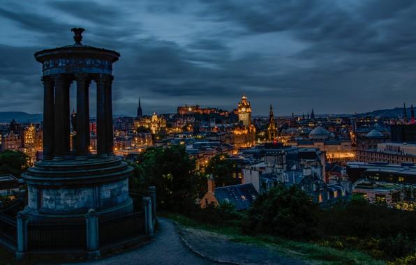 Picture lights, the evening, Edinburgh, Shotlandiya
