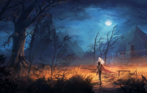 Picture moon, sword, fantasy, sky, trees, field, weapon, Warrior, night, mountains, clouds, birds, ruins, castle, digital …