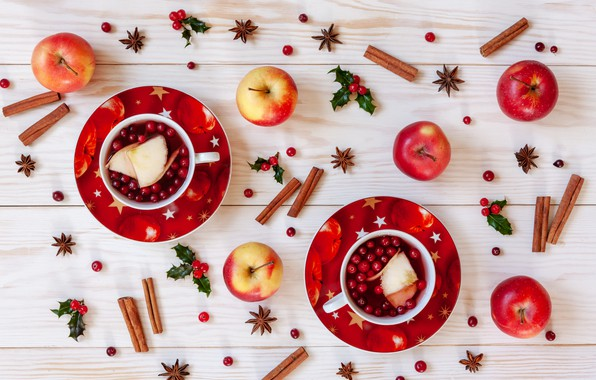 Picture berries, apples, Christmas, fruit, cinnamon, Christmas, winter, cup, fruit, berries, tea, apples, decoration, cinnamon, Cup …