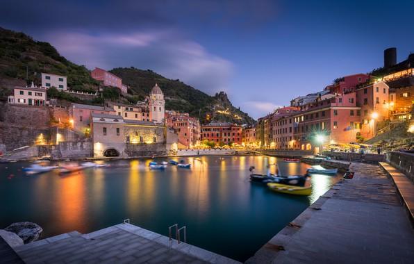 Picture building, home, boats, Italy, promenade, Italy, The Ligurian sea, harbour, Vernazza, Vernazza, Cinque Terre, Cinque …