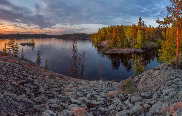 Picture autumn, the sun, rays, trees, landscape, sunset, nature, stones, shore, the evening, Bay, forest, Lake …