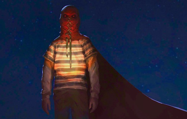 Picture night, boy, mask, cloak, Brightburn, Gori Gori Yasno