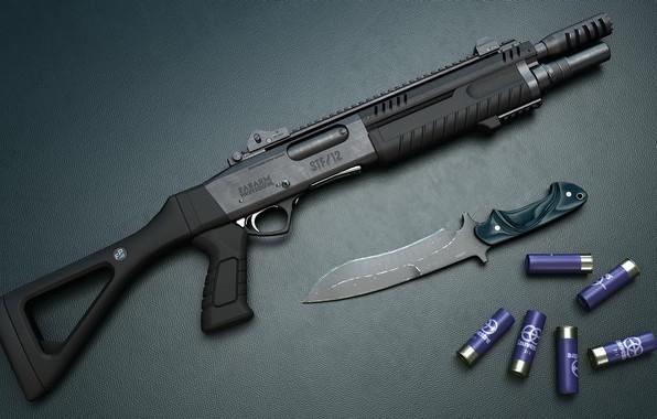 Picture weapons, knife, cartridges, shotgun, weapon, render, render, shotgun, 3d art, knife, Origin, STF 12 compact, …
