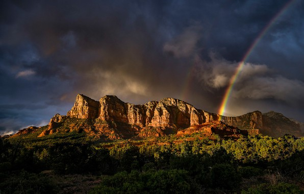 Picture forest, the sky, the sun, trees, mountains, clouds, rocks, rainbow, USA, Arizona, Sedona