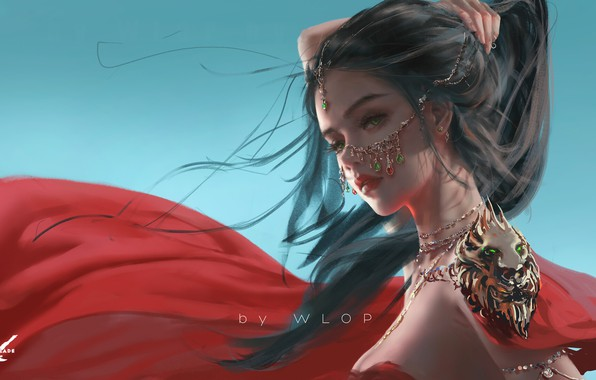 Picture girl, fantasy, green eyes, brunette, digital art, artwork, princess, fantasy art, necklace, jewels, fantasy girl, …