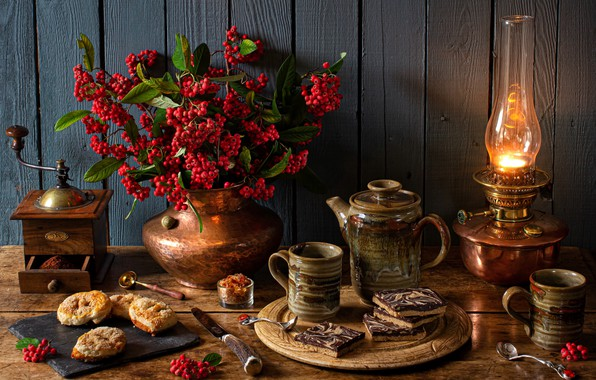 Picture style, berries, lamp, cookies, mugs, still life, cakes, coffee grinder, coffee pot, English