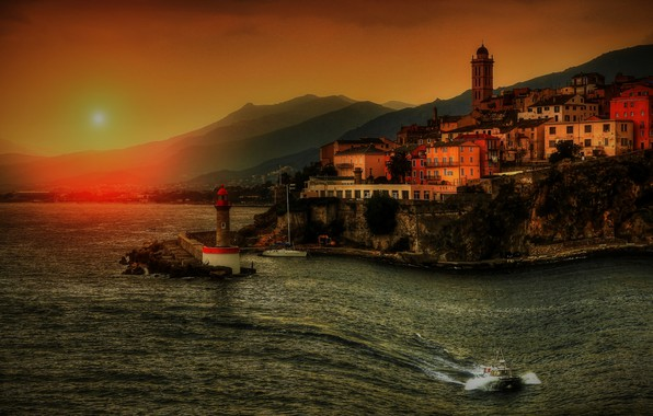 Picture sea, wave, the sky, the sun, landscape, sunset, mountains, the city, hills, shore, coast, boat, …