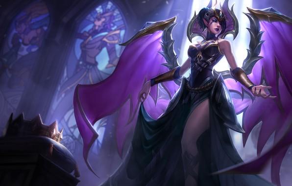 Picture girl, fantasy, game, cathedral, wings, crown, angel, League of Legends, digital art, artwork, dark angel, …