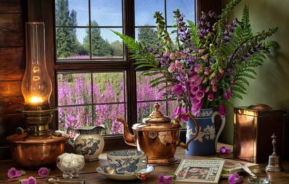 Picture flowers, style, books, lamp, bouquet, kettle, window, mug, Cup, sugar, still life, fern, digitalis, digitalis