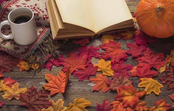 Picture autumn, leaves, flowers, background, tree, coffee, colorful, Cup, book, wood, background, autumn, leaves, cup, coffee, …
