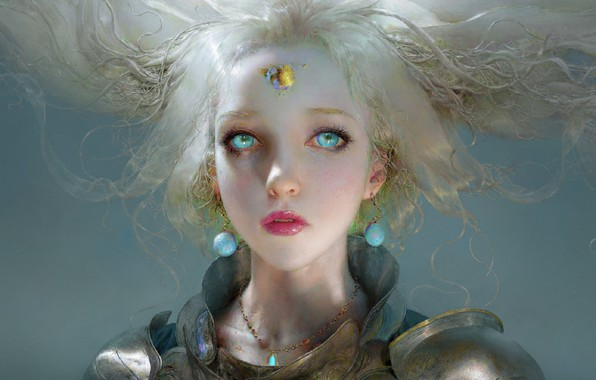 Picture face, earrings, unicorn, blue eyes, grey background, white hair, art, unicorn, the girl-soldier, Ruan Jia, …