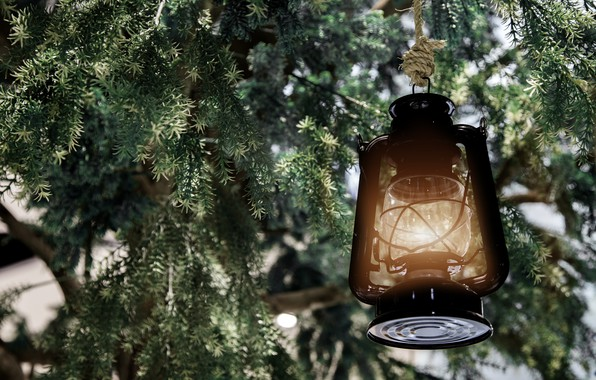 Picture snow, decoration, tree, New Year, Christmas, lantern, Christmas, snow, Merry Christmas, Xmas, decoration, candle, lantern