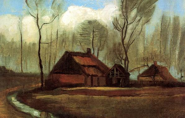 Picture puddle, Vincent van Gogh, Farmhouses Among Trees