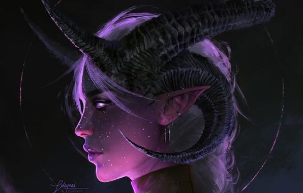 Picture face, fantasy, art, horns, demoness, pofile