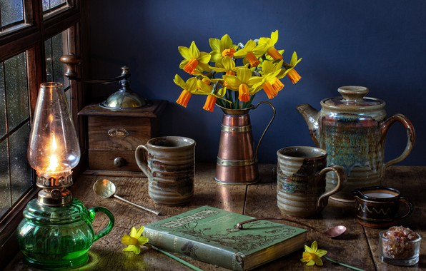 Picture flowers, style, lamp, bouquet, book, mugs, still life, daffodils, coffee grinder, coffee pot