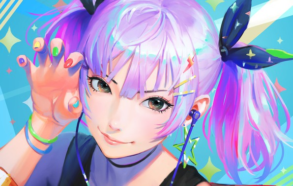 Picture face, smile, hand, headphones, girl, bracelets, white hair, manicure, clips, two tails, bangs, portrait of …