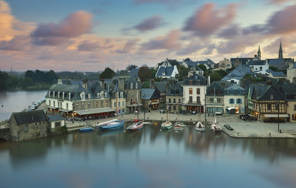 Picture the city, river, France, home, boats, promenade, municipality, Åre, Auray