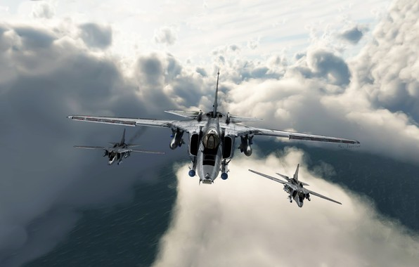 Picture The sky, Clouds, Flight, Fighter, Three, MiG, MiG, Bomber, Fighter-bomber, The MiG-27, Alexander Iartsev, Flogger, …