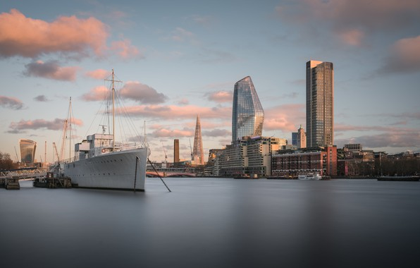 Picture Sunset, London, Thames, Ship, Big Stopper