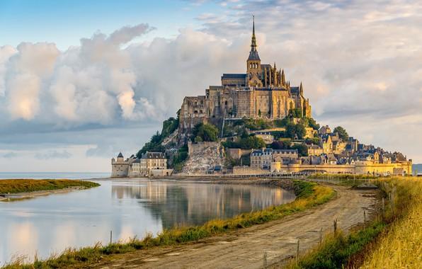 Picture road, France, fortress, France, Mont Saint-Michel