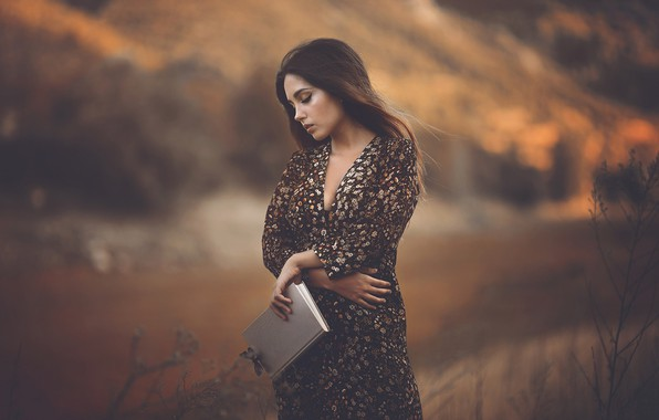 Picture autumn, girl, nature, pose, background, butterfly, hands, book, is, bokeh, closed GLSA