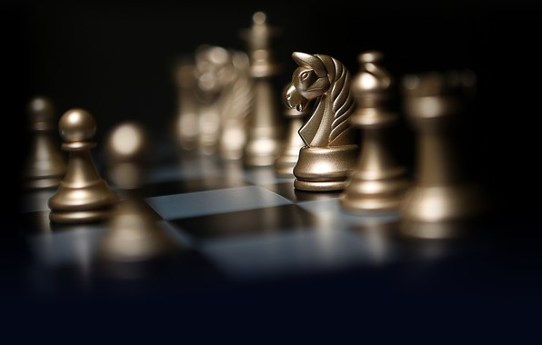 Picture light, style, background, horse, the game, chess, pawn, figure, picture, chess Board, bokeh