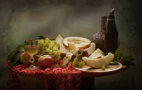Picture leaves, berries, apples, glass, fruit, grapes, drink, pitcher, fruit, still life, table, napkin, vessels, dish, …