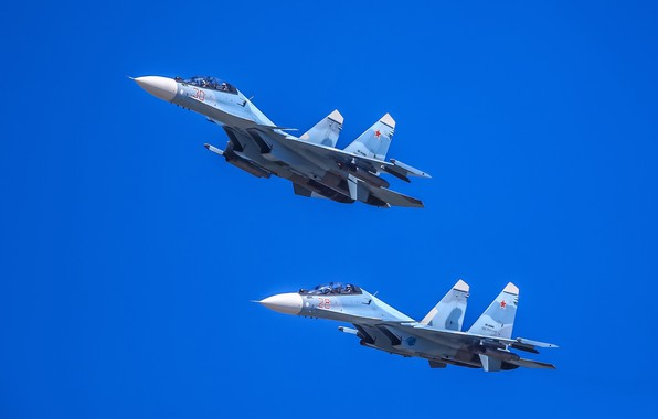 Picture pair, flight, multi-role fighter, Su-30CM, Su-30SM