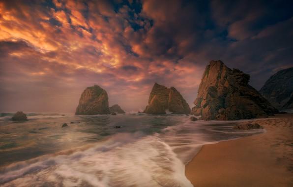 Picture sunset, the ocean, rocks, coast, Portugal, Portugal, The Atlantic ocean, Atlantic Ocean, Sintra, Sintra, Praia …