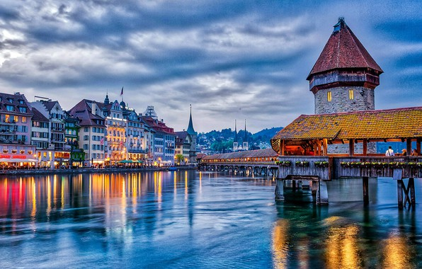 Picture bridge, home, the evening, Switzerland, water, evening, houses, Covered bridge in Lucerne