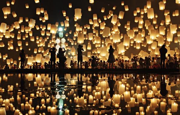 Picture reflection, people, people, reflection, chinese lanterns, Prasad Ambati, китайские фонарики
