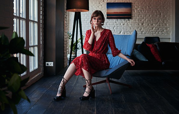 Picture pose, room, chair, dress, glasses, Olga Pushkina, Sergey Fat, Sergey Zhirnov