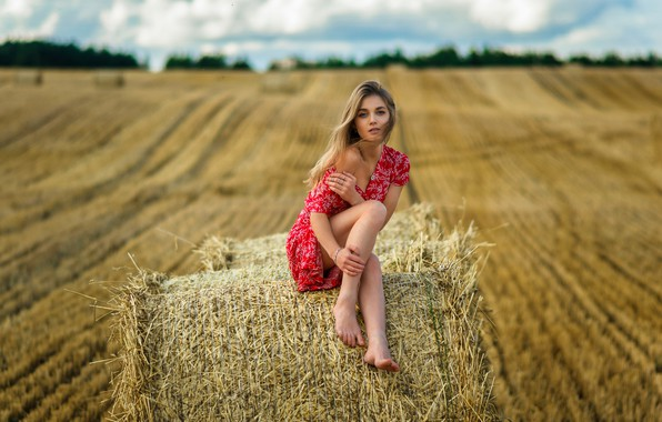 Picture field, the sky, look, clouds, sexy, model, hair, horizon, straw, legs, cutie, barefoot, girl., dress, …