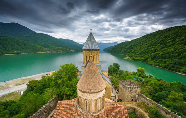 Picture mountains, river, castle, fortress, Georgia, Georgia, Ananuri, The River Aragvi, Ananuri Fortress, Aragvi River