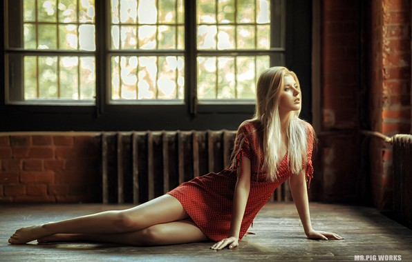 Picture sexy, pose, model, Windows, portrait, barefoot, makeup, figure, dress, hairstyle, blonde, legs, beauty, sitting, in …
