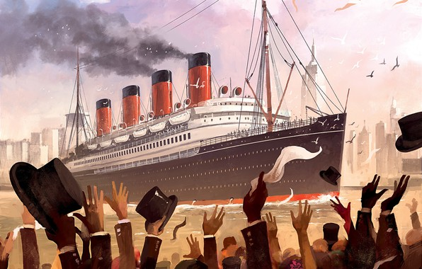 Picture Figure, People, Art, Art, Titanic, Illustration, RMS Titanic, Game Art, Dominik Mayer, Transatlantic, by Dominik …