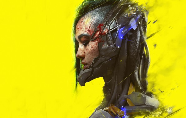 Picture girl, art, profile, cyberpunk, yellow background, cyberpunk