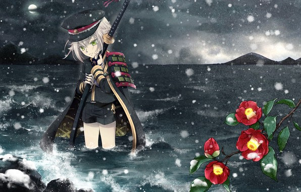 Picture cold, sea, snow, shorts, katana, armor, cap, in the water, in the dark, Touken Ranbu, …