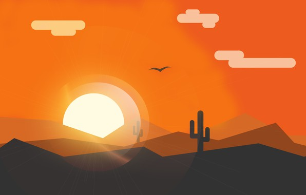 Picture landscape, sunset, minimalism, vector graphics